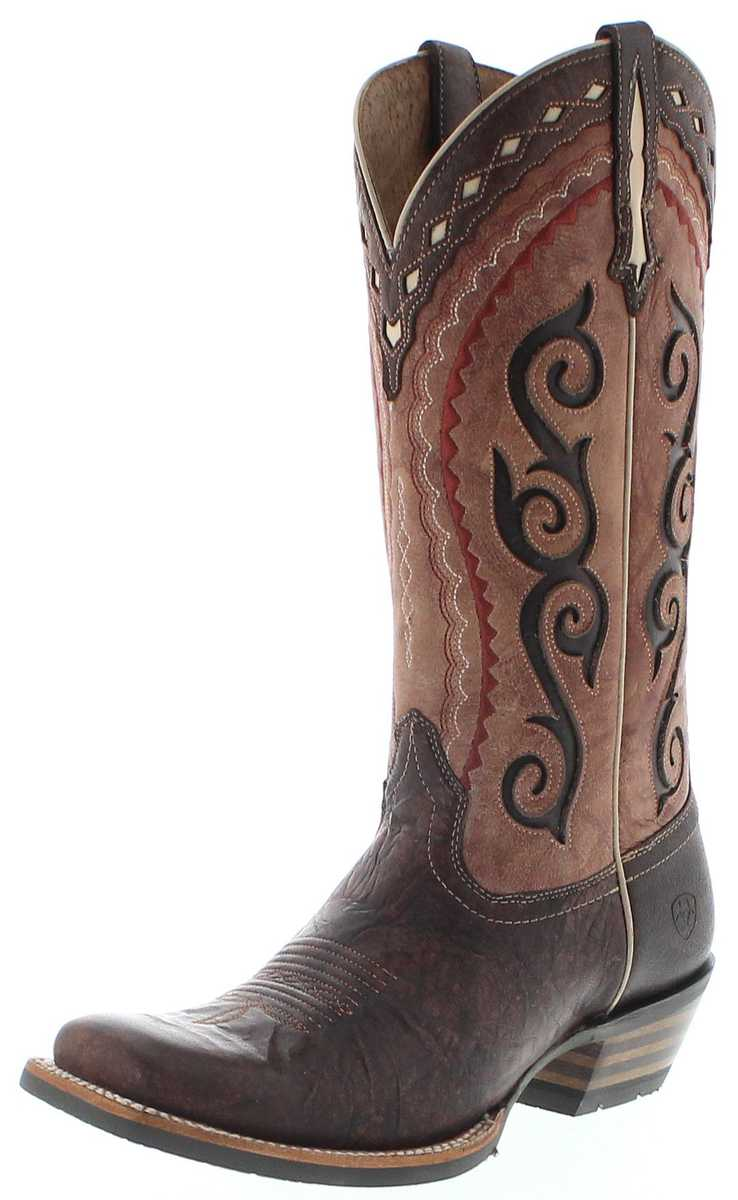 Ariat 25053 COWTOWN Cutter Cocoa Pink Ladies Western Boots - brown