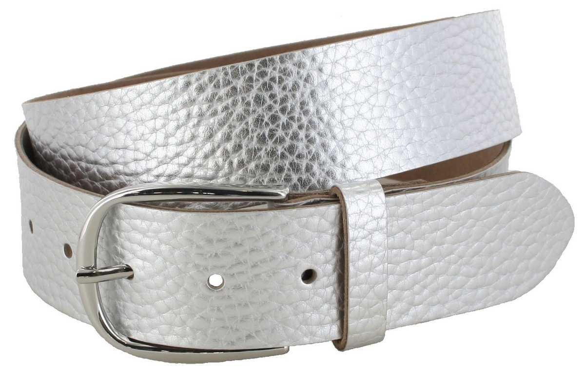 Vanzetti V5542-150 Silver Metallic Ladies Leather Belt - silver
