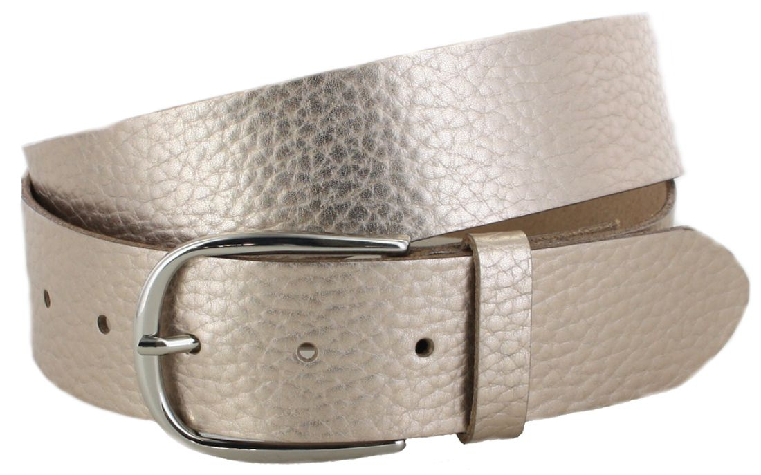 Vanzetti V5542-168 Gold Metallic Ladies Leather Belt - gold