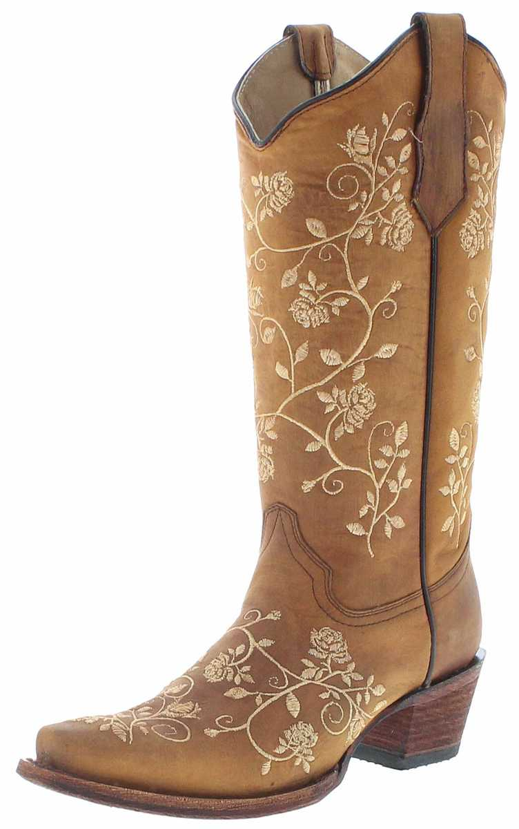 Circle G Boots L5443 Straw Floral Western Boots - brown