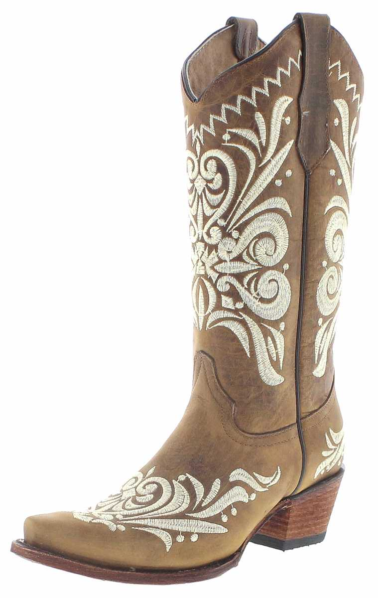Circle G Boots L5392 Tan Western Boots - brown