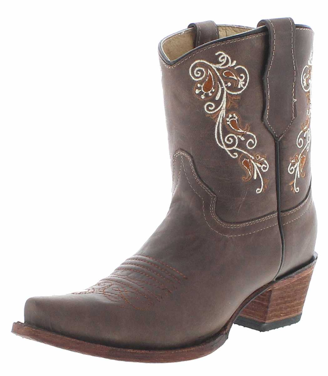 Circle G Boots L5459 Brown Western Bootees - brown