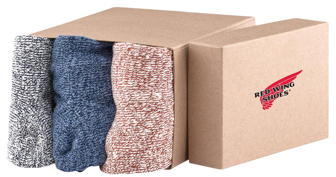 Red Wing Shoes 97061 Socks 3 piece men socks set - red, blue & grey