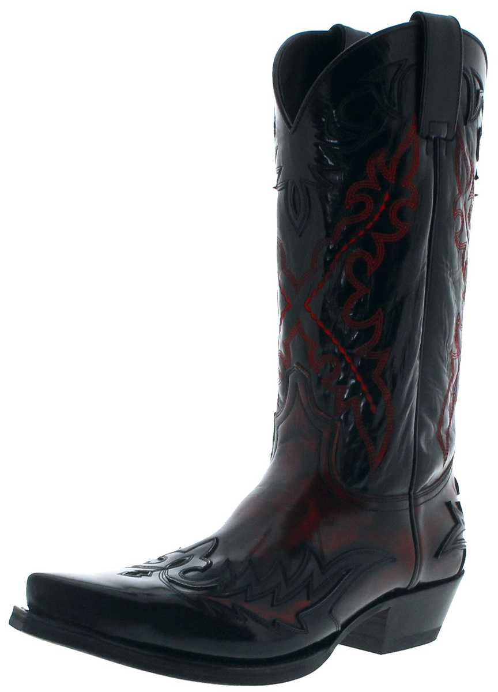 Sendra Boots 9669 Negro Rojo Men Western Boots - black red