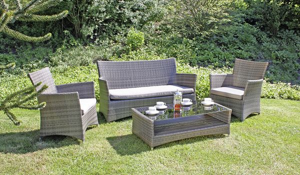 4 tlg gartenlounge lounge gruppe garten sitzgruppe tisch sofa sessel sitzecke ebay. Black Bedroom Furniture Sets. Home Design Ideas