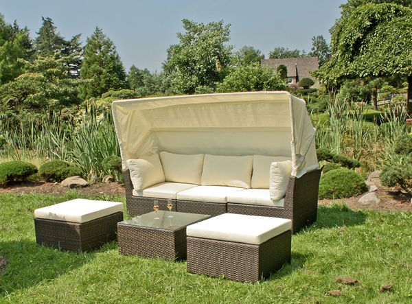 lounge sofa sitzecke couch lounge gartensofa liege garten tisch hocker stuhl ebay. Black Bedroom Furniture Sets. Home Design Ideas