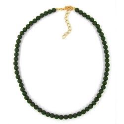 Kette, 6mm Perlen, oliv-matt – Bild 4