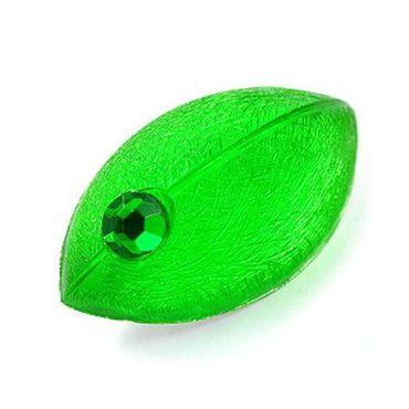 Brosche, Maus, grün mit Stein – Bild 3