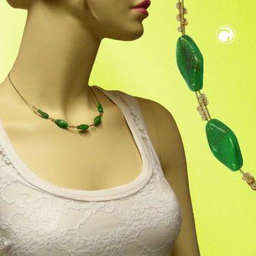 Kette, Glas grün-marmoriert Flitter – Bild 2