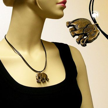 Kette, Elefant altmessing schwarz-gold – Bild 2