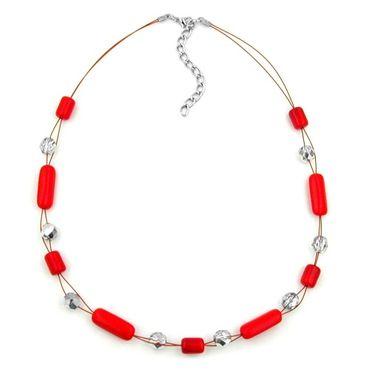 Kette, Draht mit Glasperle rot – Bild 3