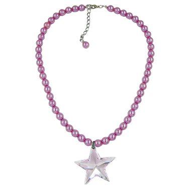 Kette, Glas, Perle rosa, Stern rosa – Bild 1