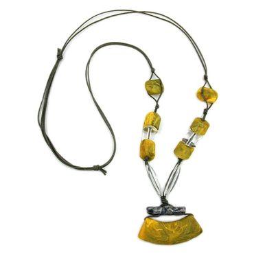 Kette, Rohr flach gelb-oliv, altsilber – Bild 3