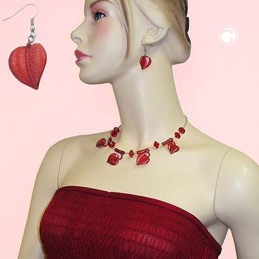 Ohrhaken, Blatt rot mit Flitter – Bild 2