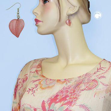 Ohrhaken, Blatt rosa mit Flitter – Bild 2