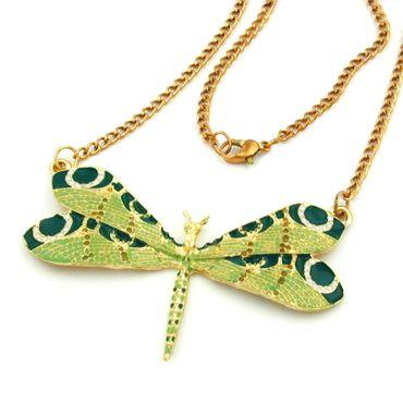 Kette, Libelle, grünton, goldfarben – Bild 1
