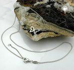 ASS 925 silber Collier Schmetterling mit 15 Zirkonia Kette Halskette , 43-45cm 001