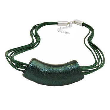 Kette, Rohr flach gebogen, grün-metallic – Bild 3