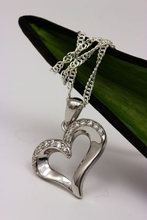 ASS 925 Silber Anhänger Herz 17mm rhodiniert mit Zirkonia weiß Kettenanhänger SET mit Kette – Bild 3