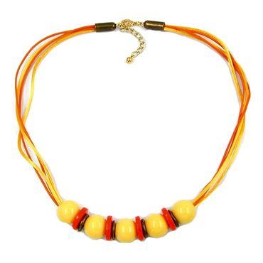 Kette, 5x Perle gelb orange altmessing – Bild 1