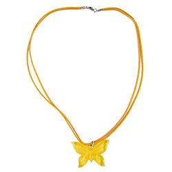 Kette, Schmetterling gelb-transparent – Bild 4