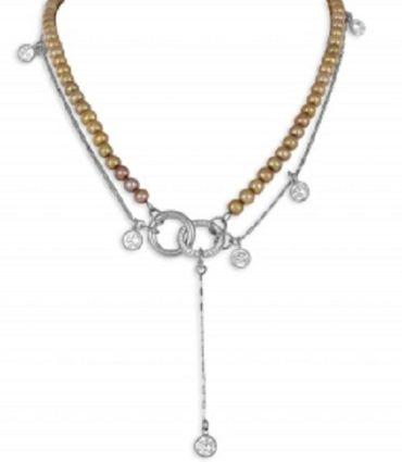 ASS 925 Silber Ankerkette Y-Collier Halskette 45cm 1,4mm mit Perlen SWZP und Zirkonia