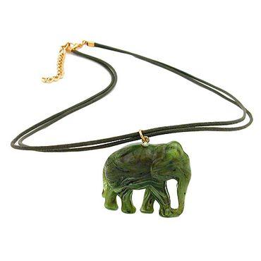 Kette, Elefant oliv-marmoriert – Bild 3