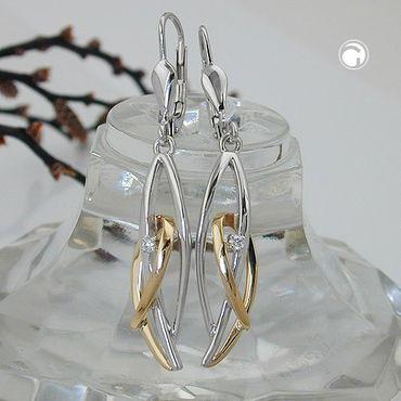 ASS 585 Gold Ohrhänger Brisur Ohrringe  Bicolor mit Diamant Brillant-0,03Kt WSI, 14Kt GOLD – Bild 2
