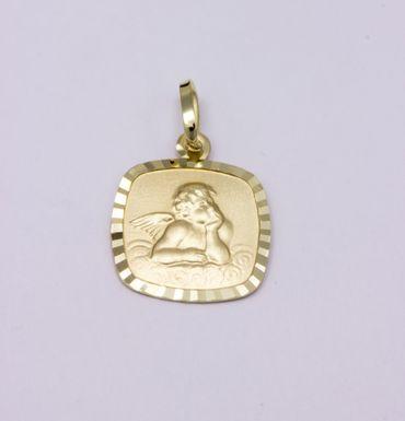 ASS 333 Gold Damen Kinder Anhänger Engel Schutzengel 10 mm Gott schütze dich – Bild 3