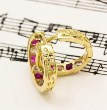 ASS 585 Gold Damen Kinder Ohrringe Creolen 10 mm mit Zirkonia rot, weiß. Neu – Bild 4