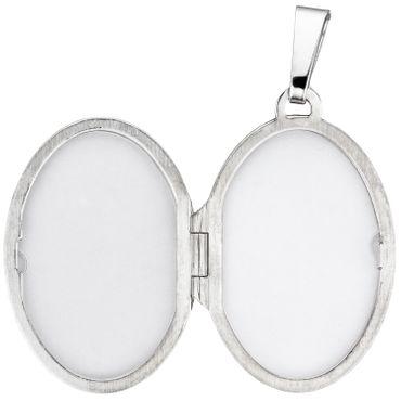 Medaillon oval für 2 Fotos 925 Sterling Silber matt Anhänger zum Öffnen – Bild 3