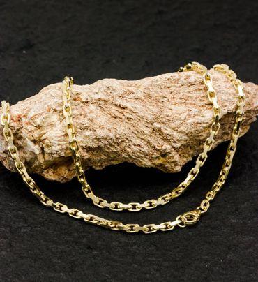 ASS 585 Gold  Massive Anker Kette Halskette Ankerkette 55 cm 3,0mm ,14K, Gelbgold,diamantiert – Bild 3