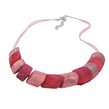 Kette Schrägperle rosa-pink, Kordel – Bild 3