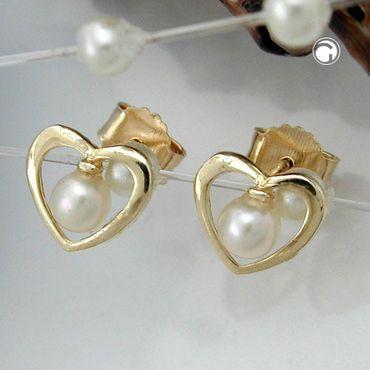 ASS 375 Gold Ohrringe Ohrstecker Stecker Herz, Perle ca. 3mm, Zirkonia, 9Kt GOLD – Bild 2