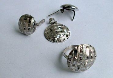 925 Silber Damen Ring & Ohrringe & Anhänger, im/ohne Schmuckset diamantiert Ecke – Bild 1
