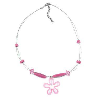 Kette, Blume rosa, kristall, Draht – Bild 1