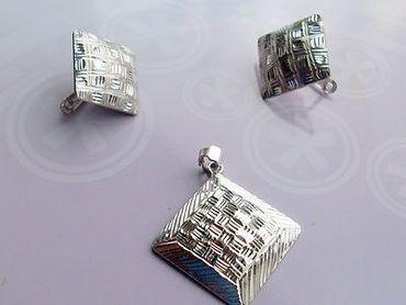 925 Silber Damen Ring & Ohrringe & Anhänger (Quadrat) diamantiert im/ohne Set – Bild 5