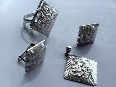 925 Silber Damen Ring & Ohrringe & Anhänger (Quadrat) diamantiert im/ohne Set