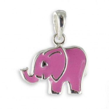 ASS 925 Silber Kindern Anhänger Elefant Lack pink