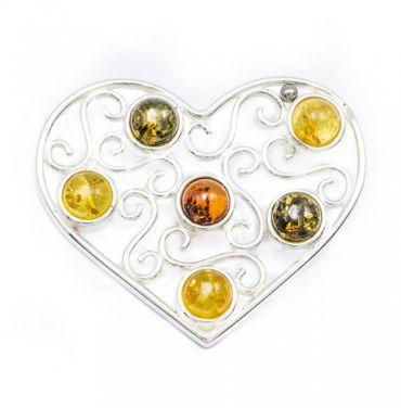 ASS 925 Silber Riese Große Anhänger Herz filigran mit Bernstein Multicolor Amber