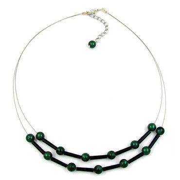 Kette, Draht, Perlen grün-schwarz – Bild 3