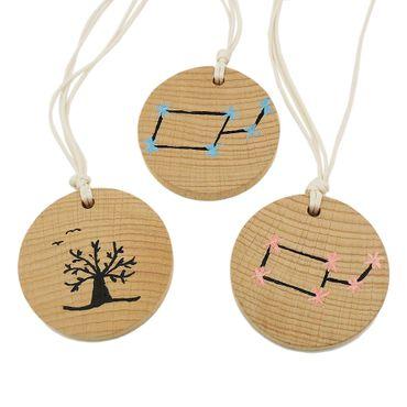 Kette, Holz, Scheibe, Kordel – Bild 1