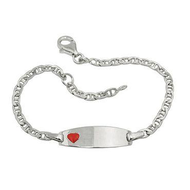 Schildband Kinder rotes Herz Silber 925 – Bild 3