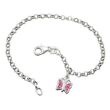 Armband 16cm Erbskette Schmetterling Glasstein pink Silber 925 – Bild 3