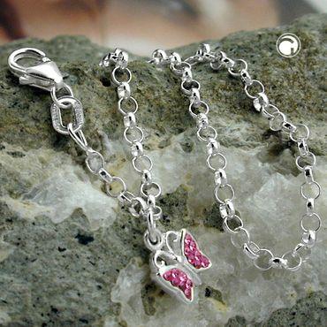 Armband 16cm Erbskette Schmetterling Glasstein pink Silber 925 – Bild 2