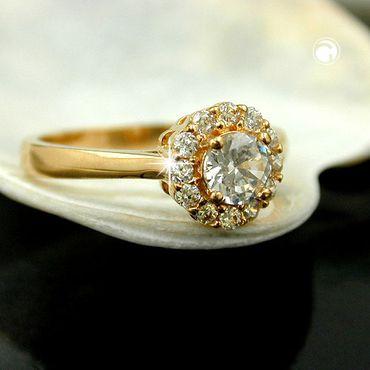 Ring, Zirkonia, gold-plattiert 3 Micron – Bild 2