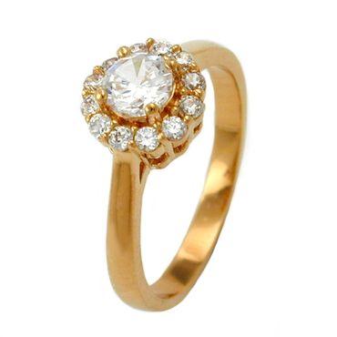 Ring, Zirkonia, gold-plattiert 3 Micron – Bild 1