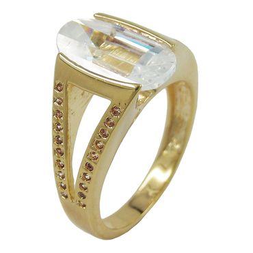 Ring, 14mm gold-plattiert Zirkonia – Bild 1