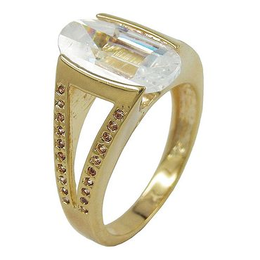 Ring, 14mm gold-plattiert Zirkonia – Bild 3