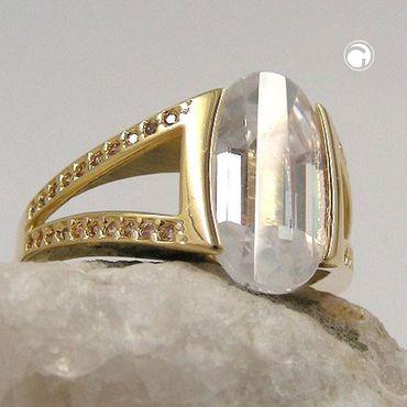Ring, 14mm gold-plattiert Zirkonia – Bild 2